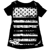 Every rocker needs a printed tee, and we love the distressed print on this one.  Chaser Flag Stripes Destroyed Slouchy Tee ($49)