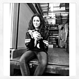 Emmy Rossum ate shaved ice on the set of Shameless. Source: Instagram user emmyrossum
