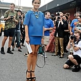 Miroslava Duma emboldened a blue skirt set with major platforms and statement jewels.