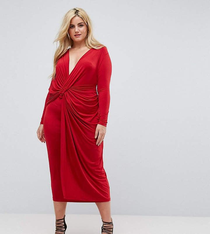 ASOS Plunge Midi Dress | Plus-Size Engagement Dresses | POPSUGAR ...