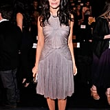 Abigail Spencer showed off a delicate pleated sheath in J. Mendel's front row.