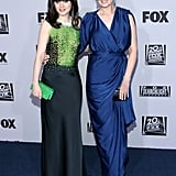 Zooey and Emily Deschanel at the Golden Globes.