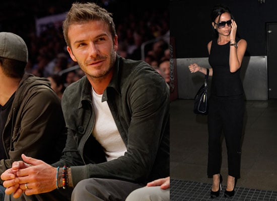 Photos of Victoria Beckham at LHR and David Beckham at Lakers