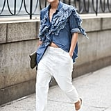 With a Deconstructed Denim Top and White Glove Heels