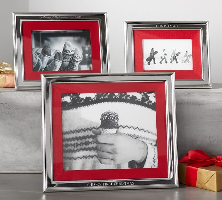 Personalized Silver-Plated Red Grosgrain Ribbon Mat Frame