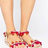 Boohoo Pom-Pom Trim Flat Sandal