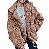 PrettyGarden Faux Shearling Oversized Teddy Coat in Tan