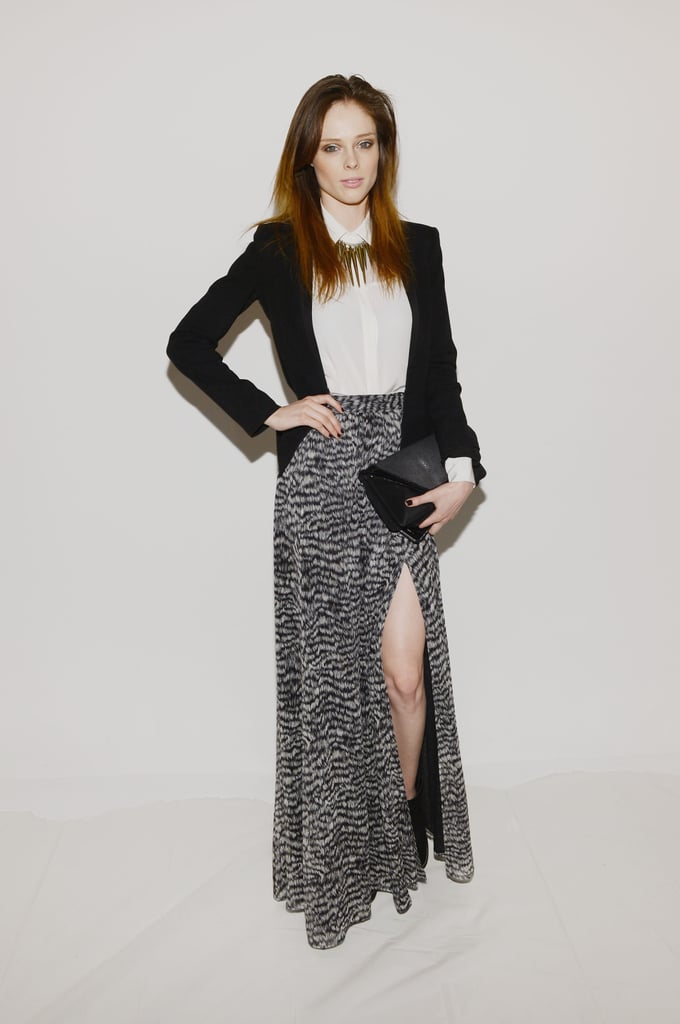 Coco Rocha took her black and white ensemble to new heights via a thigh-slit maxi skirt and statement bullet necklace at Rachel Zoe.