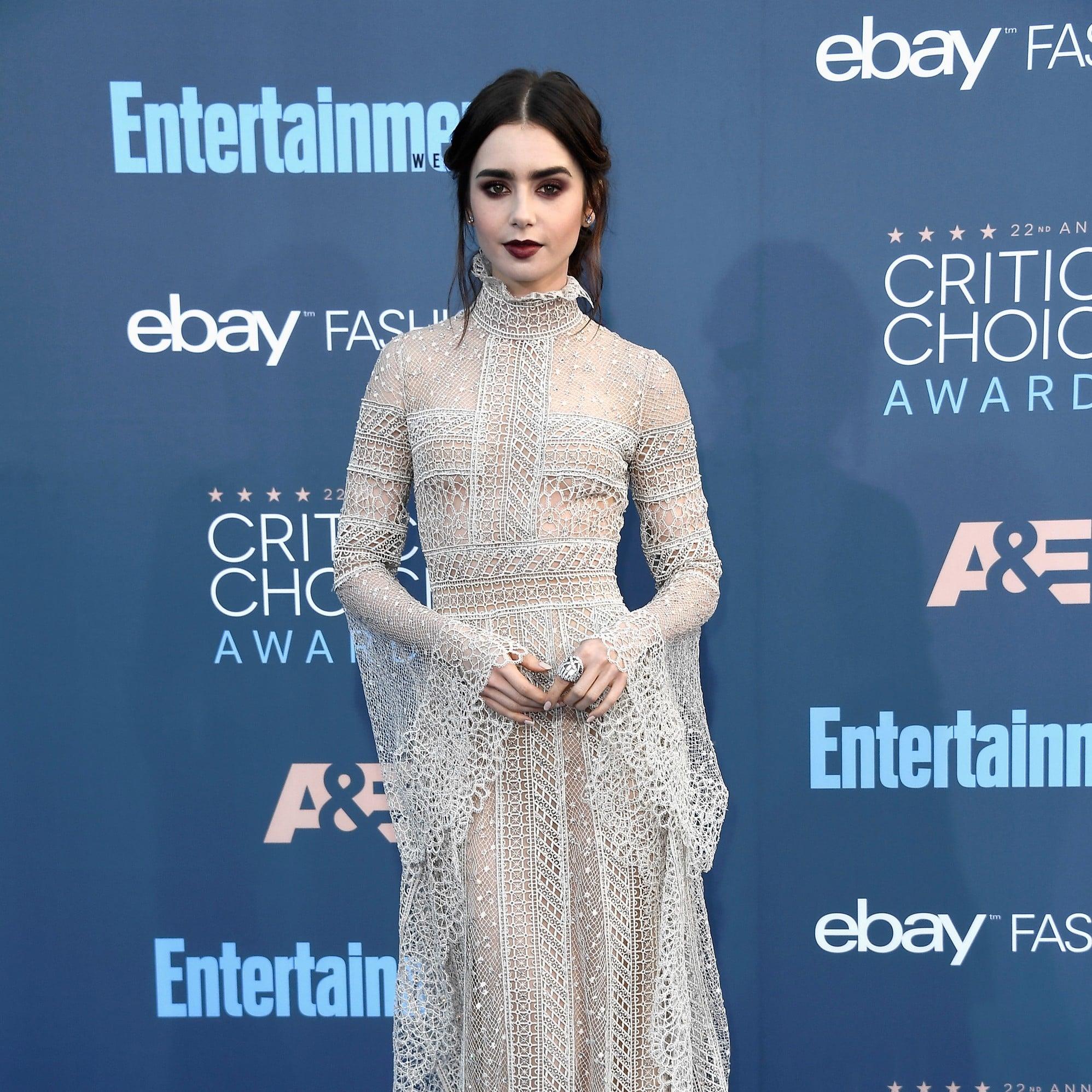 Lily Collins Elie Saab Dress at Critics\' Choice Awards 2017 ...