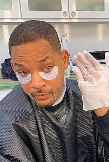 Will Smith's Eye Patches on Set