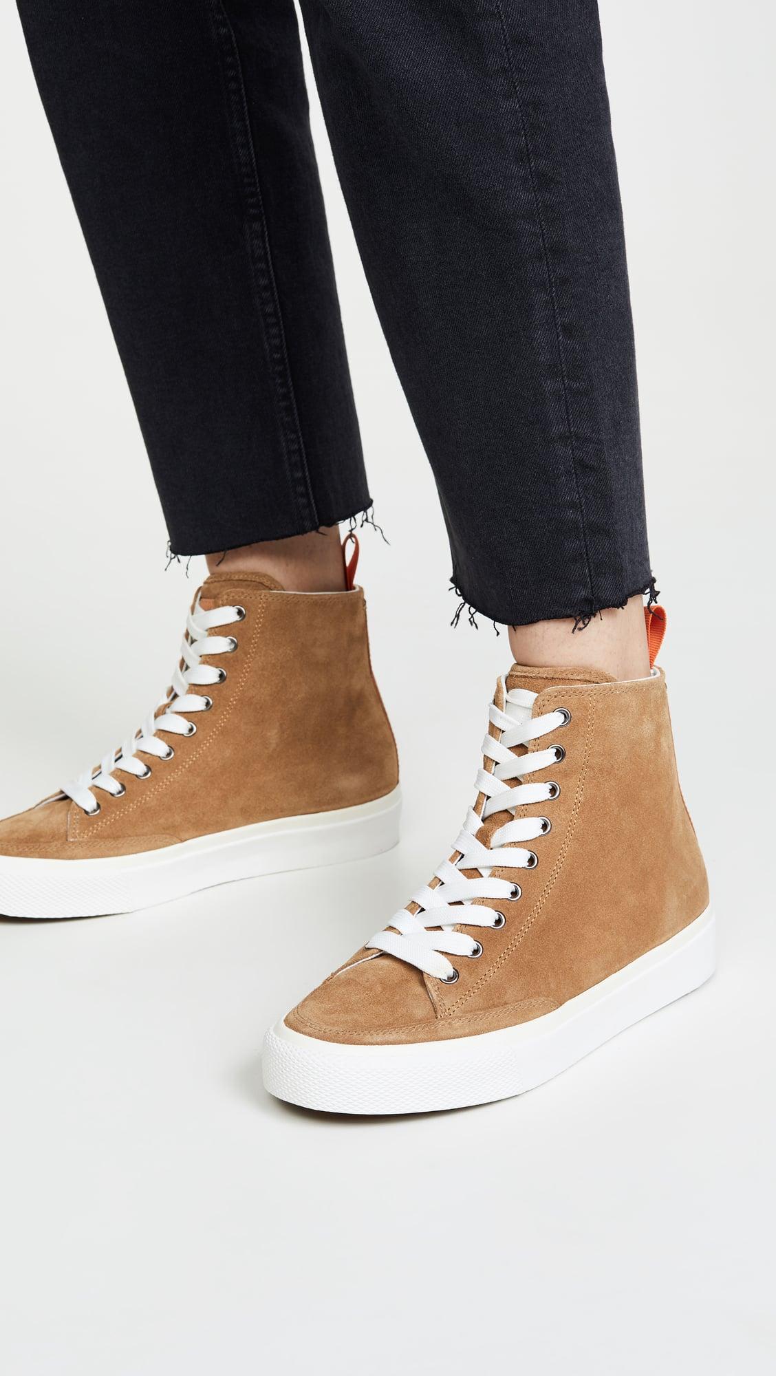 tan high top sneakers womens
