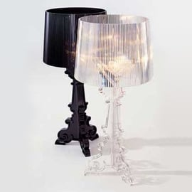 The lamp is the Kartell Bourgie Table Lamp ($362), and the chair is the Bertoia Diamond Chair ($909).