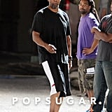 Denzel Washington arrived on set in basketball shorts.