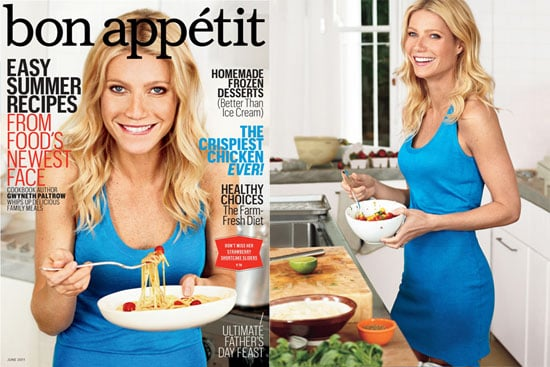 "Gwyneth Paltrow showed off her amazing shape in a tight blue dress for Bon Appétit's June issue, the first from new editor Adam Rapoport. She chatted all about her recently released cookbook, My Father's Daughter, though Gwyneth also shared details about her personal life. The jet-setting mom of 7-year-old Apple and 5-year-old Moses addressed rumors about her starting a magazine, admitted to not having time to bathe, and revealed her food philosophy. She also shared a few of her favorite recipes contained in the publication, including how to make corn vichyssoise, peach cooler, strawberry shortcake sliders, and more. She's currently home in London hanging out with girlfriends like Stella McCartney and Gwen Stefani. Before the musician headed with husband Gavin Rossdale to Cannes. Gwyneth's own rocker significant other, Chris Martin, will have to leave the UK in the coming months, though, as he and his band Coldplay were just announced as headliners during September's Austin City Limits Festival. Gwyneth Paltrow told Bon Appétit:  On rumors she's starting a magazine: ""Don't know how that rumor got into the paper. It could not be further from the truth. I literally do not have time to bathe let alone start a magazine."" On her approach to cooking: ""I wouldn't say I'm a very original thinker, but if I have a good experience with something, I'll want to take it further or adapt it in some way. I'm not going to be doing molecular gastronomy; I'm a wife and a mom and a home cook."""