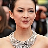 Ziyi Zhang arrived at the premiere of The Bling Ring in a black-and-gray ensemble, which influenced her smoky eye makeup.