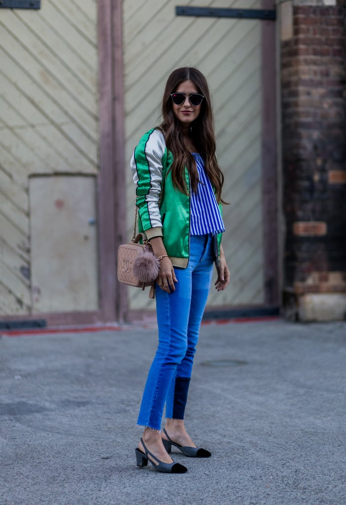 In a patchwork finish that makes a statement with a bold bomber jacket
