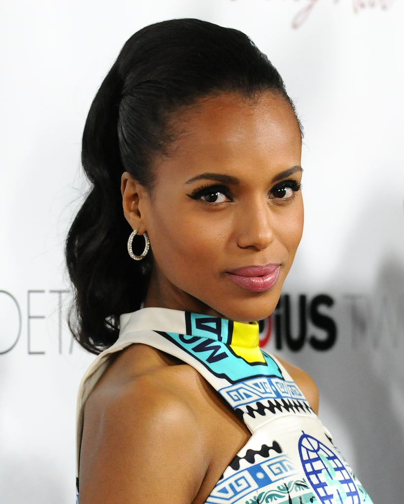 Kerry's high ponytail was far from average at the Details premiere. Adding curls gave the style a more formal touch.