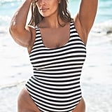 Ashley Graham x Swimsuits For All Hotshot Striped Ribbed One-Piece Swimsuit