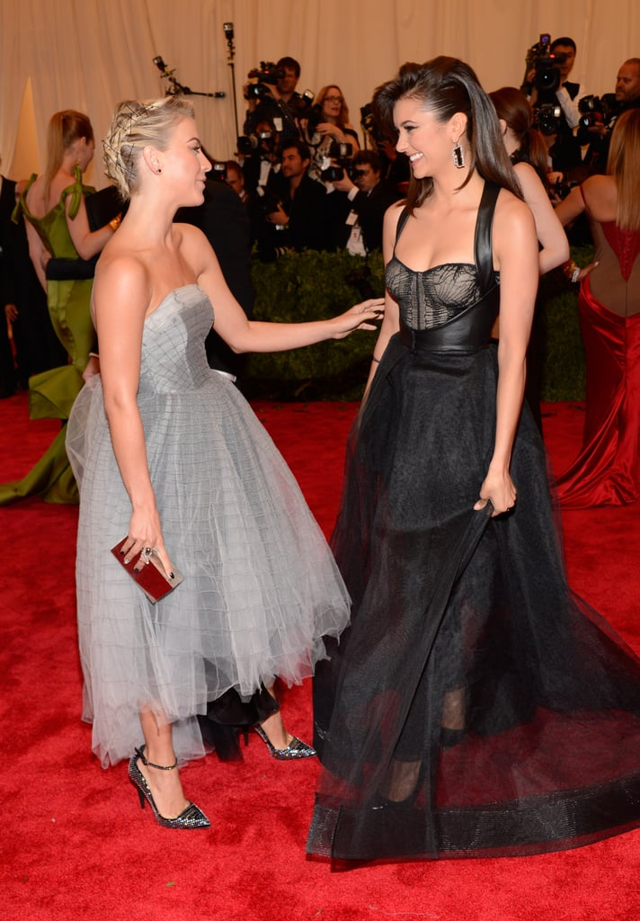 Nina Dobrev chatted with Julianne Hough at the Met Gala 2013.
