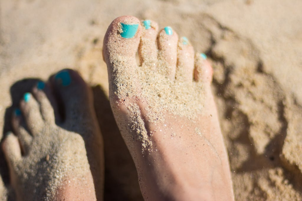 Paint your toenails with bright Summer colors.