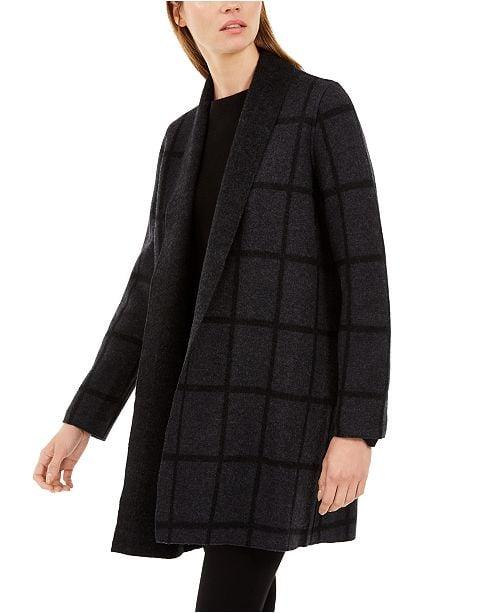 Eileen Fisher Wool Shawl-Collar Windowpane Cardigan