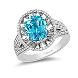 Enchanted Disney Aladdin Oval Swiss Blue Topaz Ring in Sterling Silver