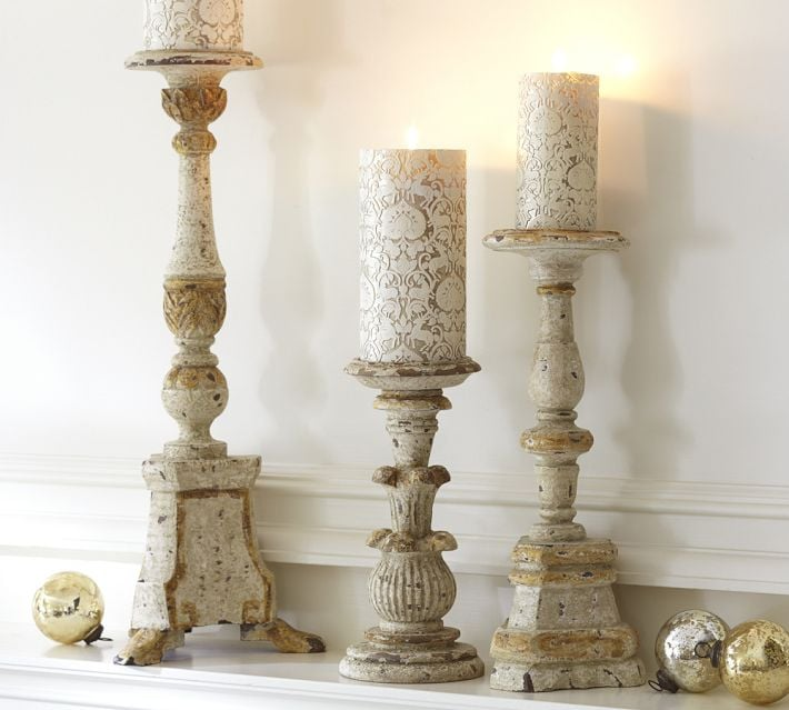 Get the look with Gold and White Pillar Holders ($31-$62, originally $40-$79), whitewashed for an authentic look and feel.