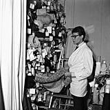 An inside look at YSL choosing fabrics in 1963.