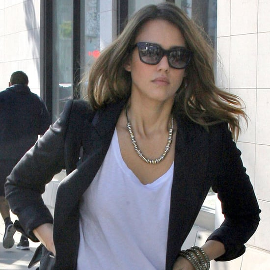 Jessica Alba in Red Pants in Beverly Hills