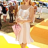 Charlotte Dellal worked her baby bumpy in refreshing stripes at The Veuve Clicquot Gold Cup.
