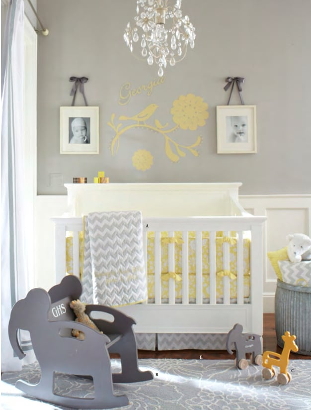 You know we've fallen for the gray nursery trend — hard. And the combination of yellow and gray is already a favorite. That's why the new Georgia collection (fitted sheet, $19, crib skirt, $59, and bumper, $99) immediately caught our eye! The yellow floral sheet and bumper paired with the gray-and-white chevron-patterned skirt is a winning combination.