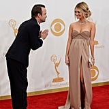 Aaron Paul gave his wife, Lauren Parsekian, a bow.