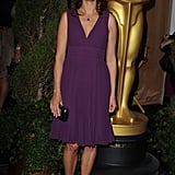 The Artist's Bérénice Bejo kept it pretty in purple with a simple Elie Saab frock, a black clutch, and black strappy sandals.