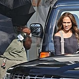 Jennifer Lopez on set.