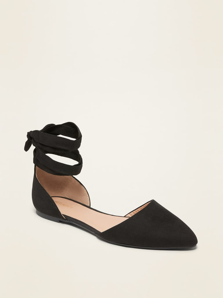 Lace-Up D'Orsay Pointy-Toe Flats
