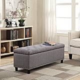 Belleze Storage Fabric Ottoman Tufted Bench