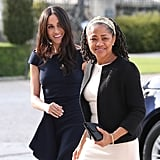 "Meghan wore the dress while helping her mom, Doria Ragland, get situated at the Cliveden House, the lavish hotel they both stayed in the night before Meghan said ""I do."""