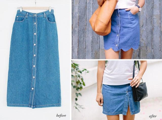 diy denim skirt popsugar fashion