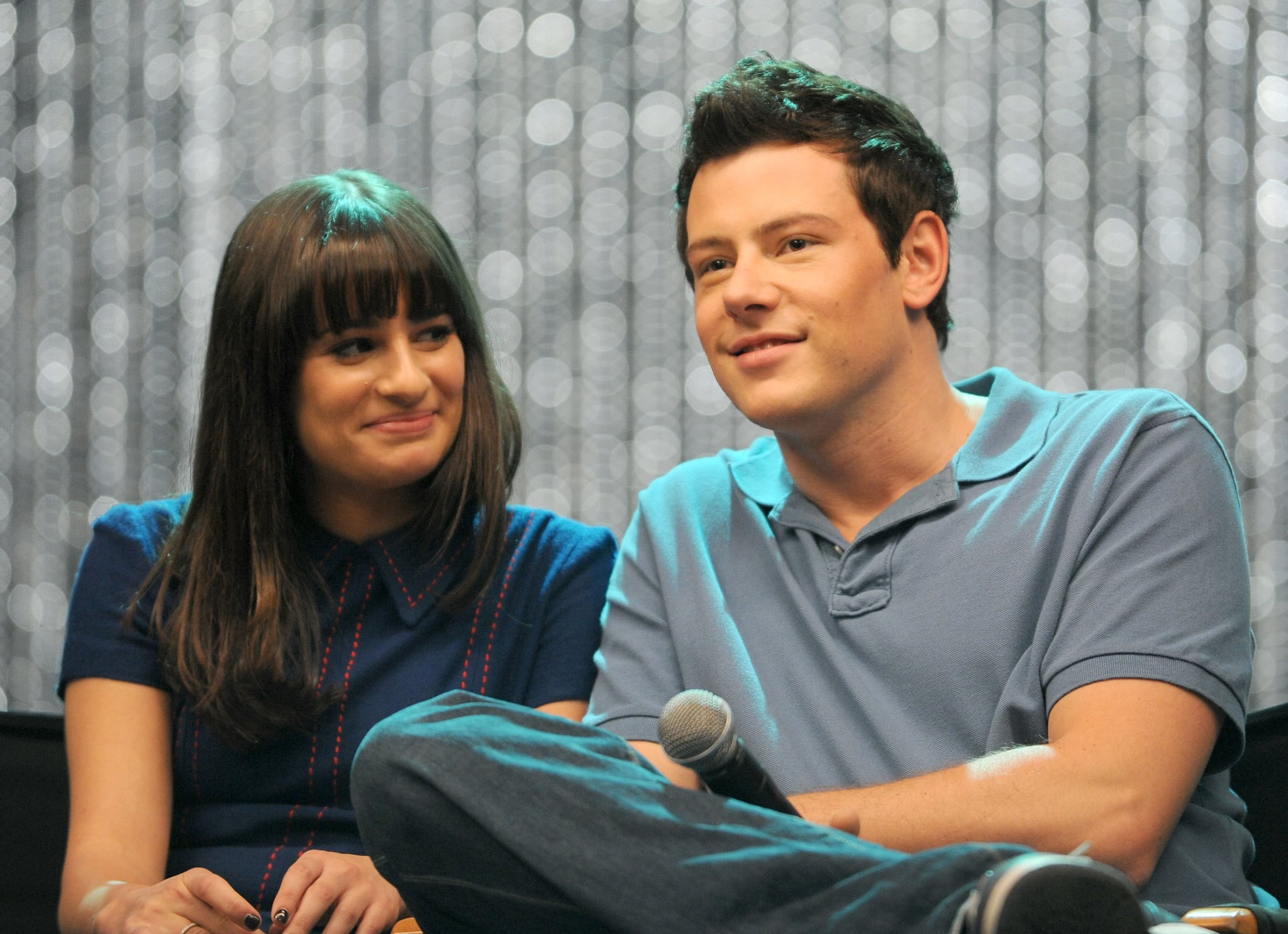 HOLLYWOOD, CA - OCTOBER 26:  Actors Lea Michele and Cory Monteith onstage during the Q & A following the 300th musical performance on