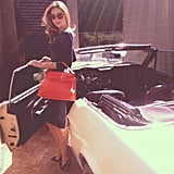 Miranda Kerr posed with a vintage Mustang. Source: Instagram user mirandakerrverified