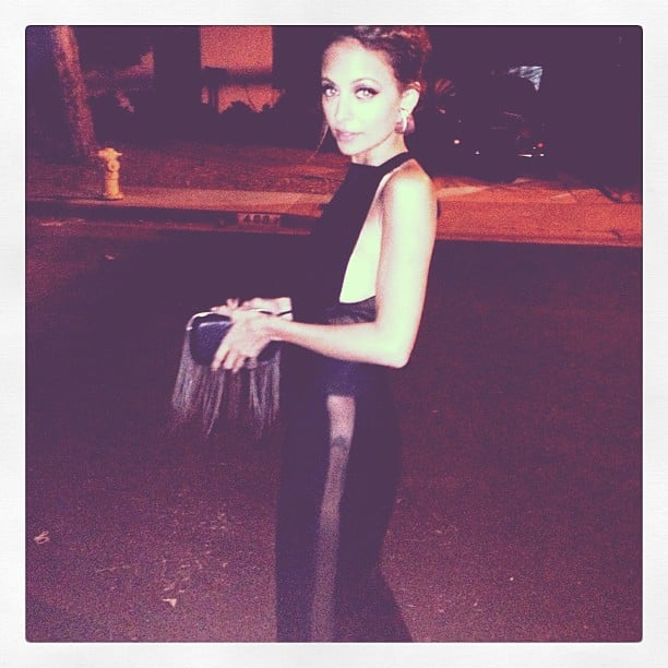 Nicole Richie wore a sexy black gown and braided updo for an appearance on Jimmy Kimmel Live. Source: Instagram user nicolerichie