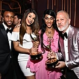 Pictured: Dyllon Burnside, Hailie Sahar, MJ Rodriguez, and Ryan Murphy