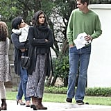 Pregnant Camila Alves spent the day with her family.