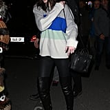 Kendall Arrived in Paris in a Colorblock Sweater and Leather Over-the-Knee Boots