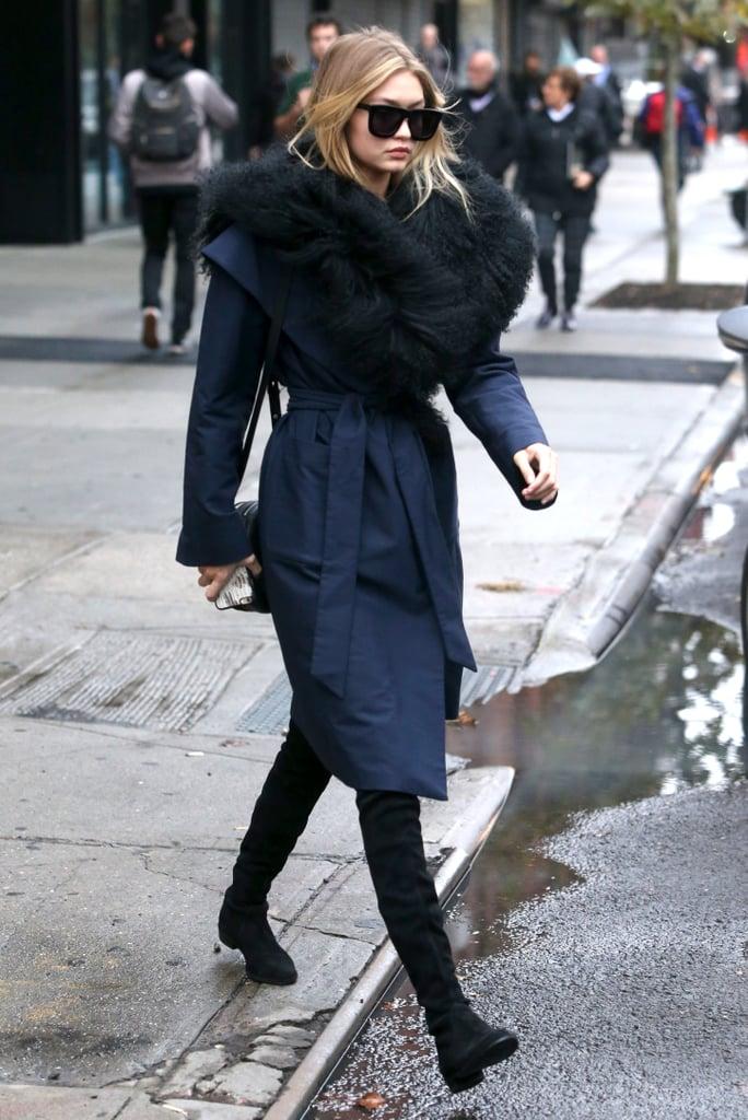 2504911b90ad Gigi Hadid s Furry Coat