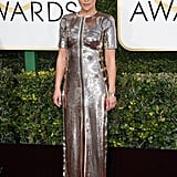 Ruth was a metallic vision wearing custom Louis Vuitton to the 74th annual Golden Globe Awards.