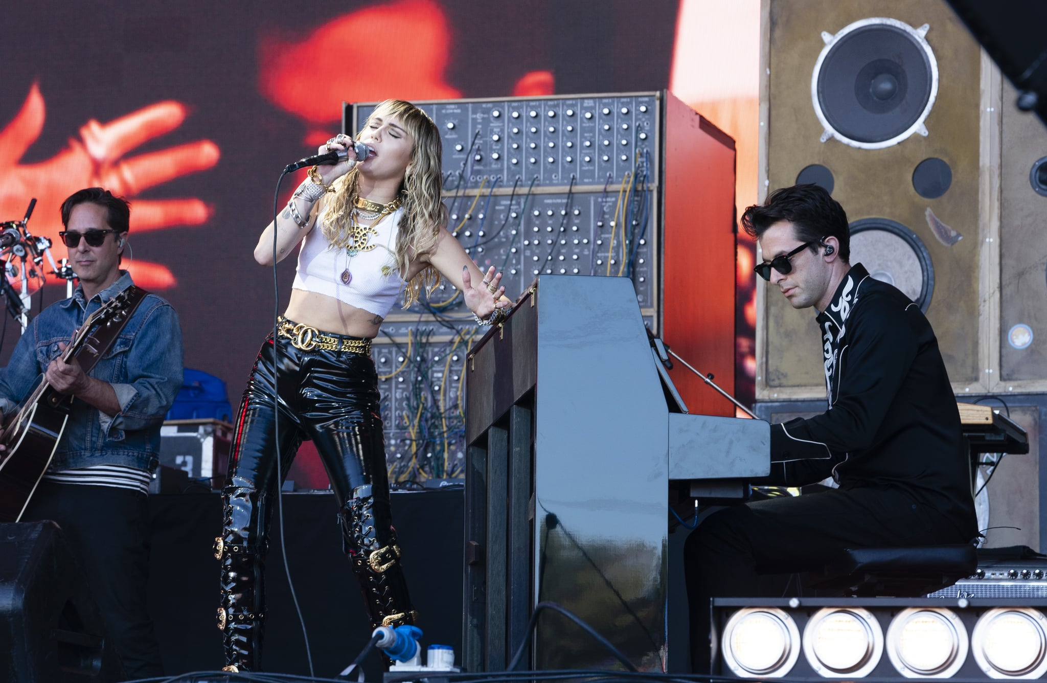 GLASTONBURY, ENGLAND - JUNE 30: Miley Cyrus & Mark Ronson perform on The Pyramid Stage during day five of Glastonbury Festival at Worthy Farm, Pilton on June 30, 2019 in Glastonbury, England. (Photo by Ki Price/Getty Images)
