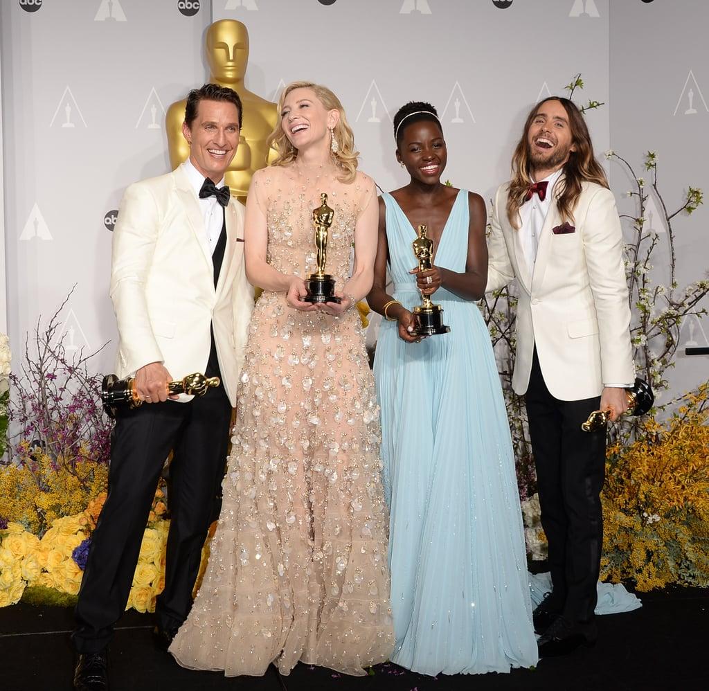 Matthew McConaughey, Cate Blanchett, Lupita Nyong'o, and Jared Leto, 2014
