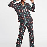 Patterned Flannel Pajama Set