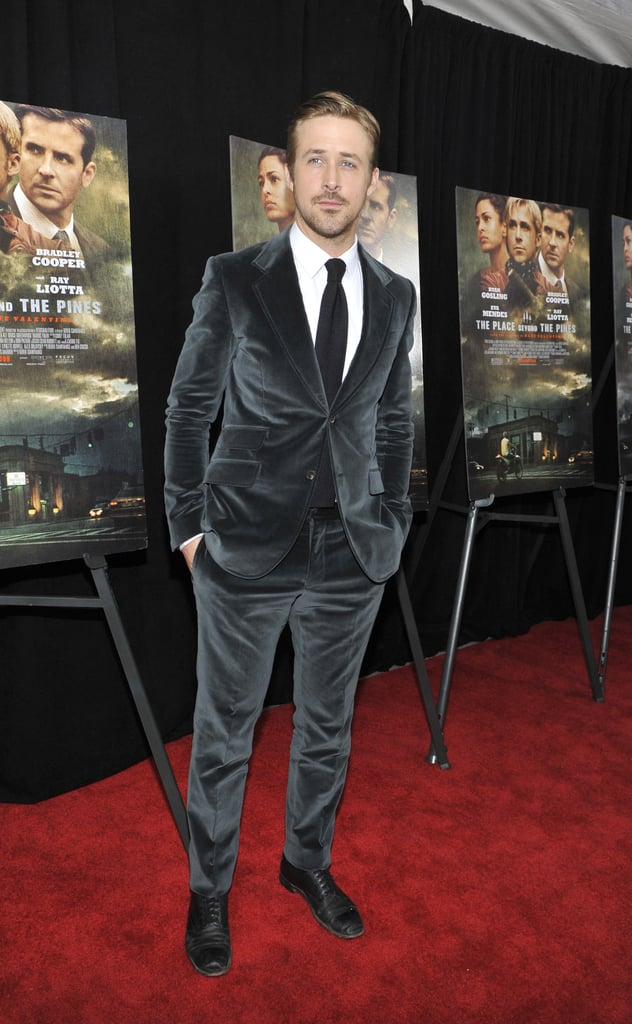 Ryan Gosling wore a velvet suit.